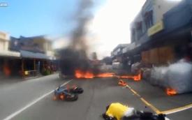 Xe Ducati bốc cháy dữ dội sau khi gặp tai nạn