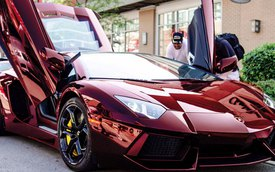 "Lamborghini Aventador bọc chrome đỏ ""nổi bần bật"""