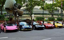 Dàn siêu xe đủ màu tụ tập trước cửa khách sạn 5 sao