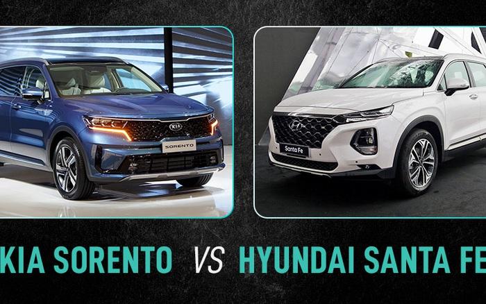 Kia Sorento vs Hyundai Santa Fe: Chênh hơn 100 triệu đồng, chọn Sorento 2021 bị kêu đắt hay Santa Fe thuộc đời cũ
